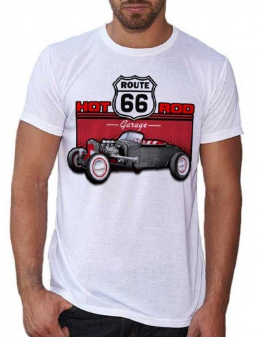 T-shirt Blanc - Voiture Hot Rod Route 66