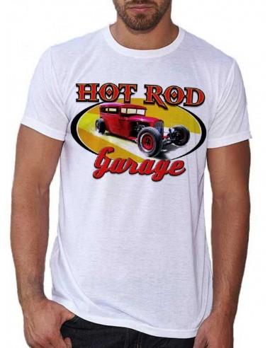 T-shirt Blanc - Voiture Hot Rod Garage Red
