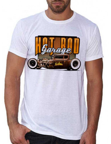 T-shirt Blanc - Voiture Hot Rod Garage Brown