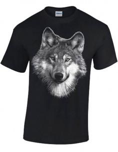 Tee shirt Noir Enfant avec tête de Loup