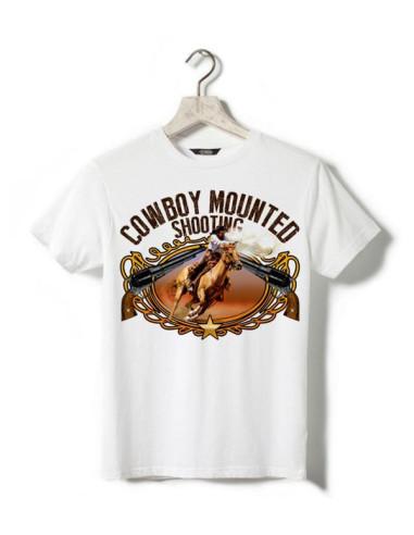 T-shirt blanc - Enfant - Cowboy - Tir à cheval