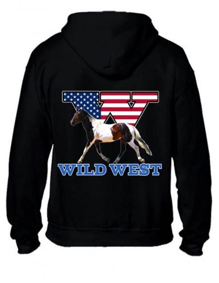 Sweat-shirt zippé femme. Cheval américain, western