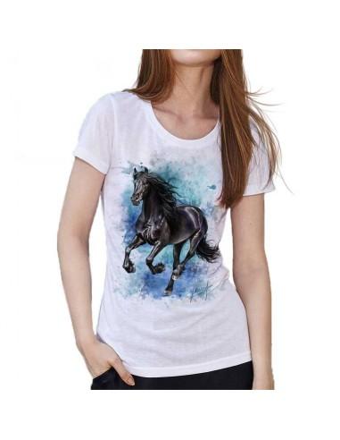 T-shirt blanc peinture cheval
