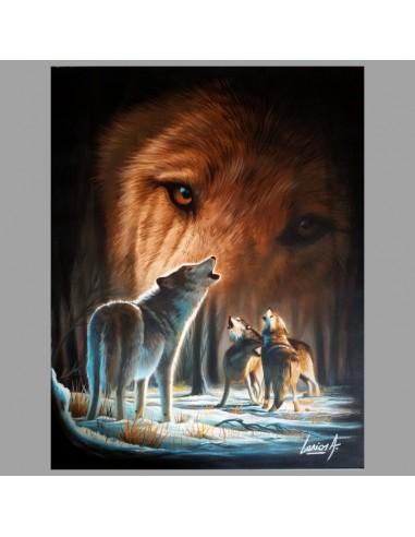 Tableau d'une peinture sur les loups