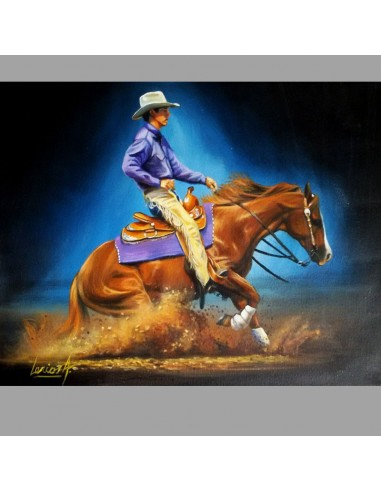 Tableau cowboy faisant un stop