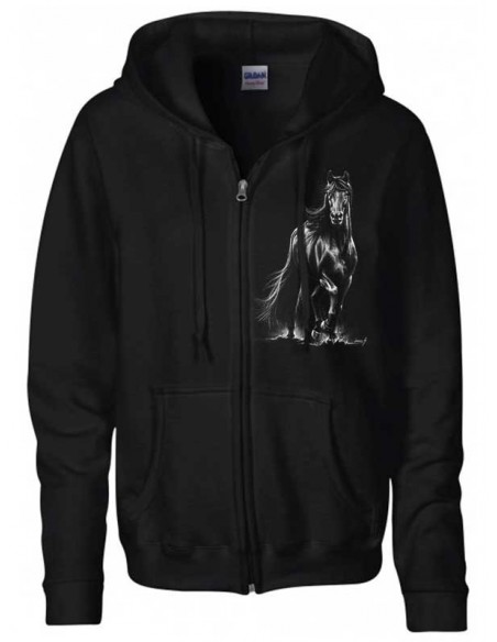 Sweat-shirt capuche avec zip - Mixte -Cheval  Frison au trot