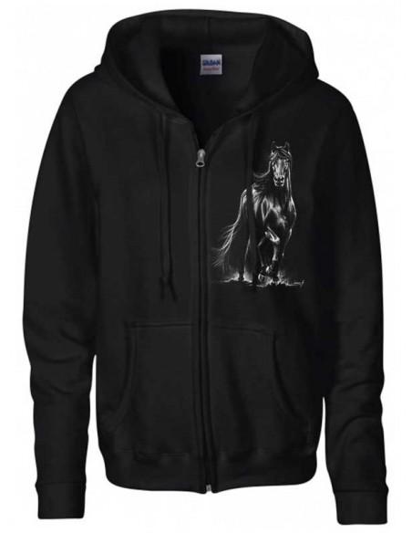 Sweat-shirt capuche avec zip - Mixte -Cheval  Frison au trot
