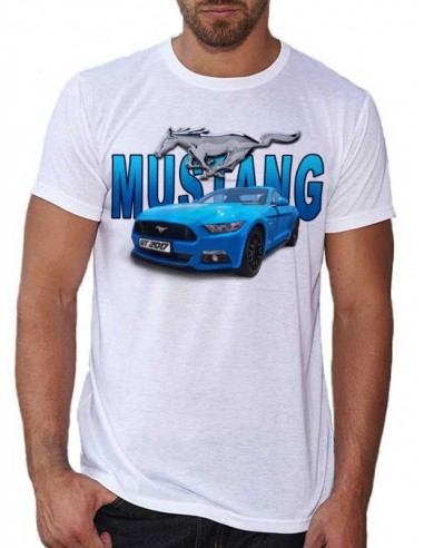 T-shirt blanc homme Mustang bleue