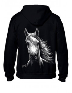 Sweat-shirt capuche avec zip - Cheval blanc