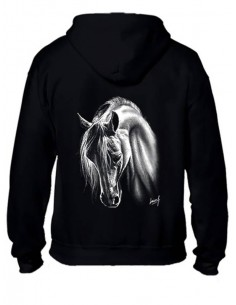 SWEAT-SHIRT CAPUCHE - ZIP - ENFANT - CHEVAL CRINS BLANCS