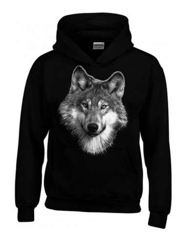 Sweat-shirt noir. Enfant. Portrait de loup