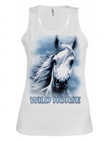 Débardeur Blanc Col rond large - Femme  - Wild Horse