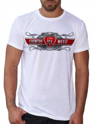 T-shirt Blanc pour homme - Country Music