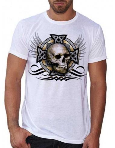 T-shirt blanc - Tête de mort celtique