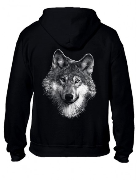 Sweat-shirt noir avec zip - Homme - Loup