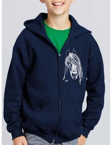 Sweat-shirt bleu marine, capuche avec zip - Cheval blanc