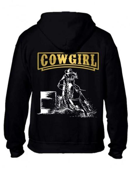 Sweat-shirt noir avec zip pour femme. Barrel. Western. Dos