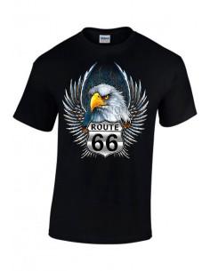 T-shirt Noir pour homme avec Aigle et Route 66