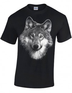 T-shirt Noir Homme - Loup