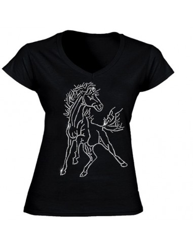 T-shirt Noir - Strass Cheval