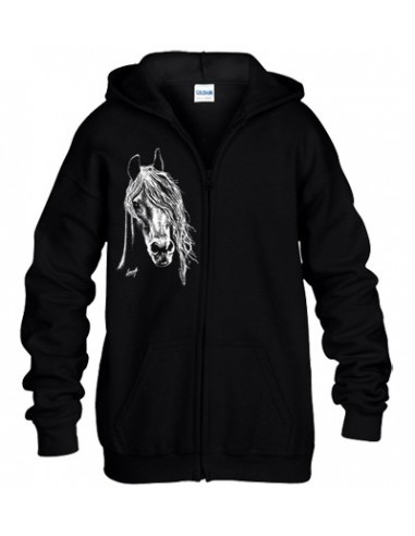 Sweat-shirt capuche avec zip - Cheval Arabe