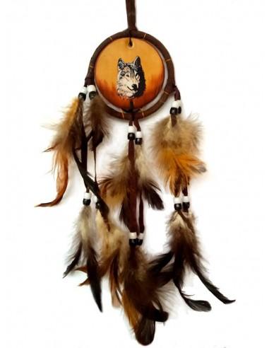 Dreamcatcher en cuir marron ou bleu - Loup