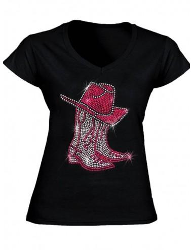 T-shirt noir - Femme - Bottes et chapeau en strass