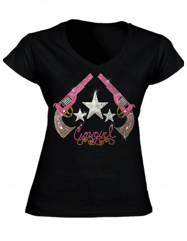 T-shirt noir col V - Femme - Pistolets en strass
