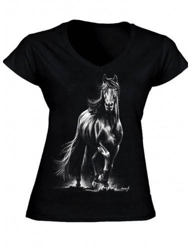 T-shirt noir, col V - Femme - Frison
