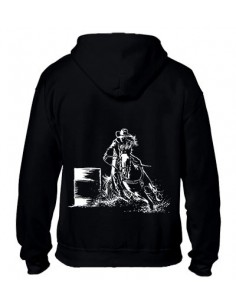 Sweat-shirt noir avec zip - Femme - Barrel - Western