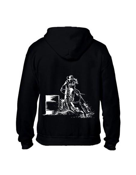 Sweat-shirt noir avec zip - Femme - Barrel - Western