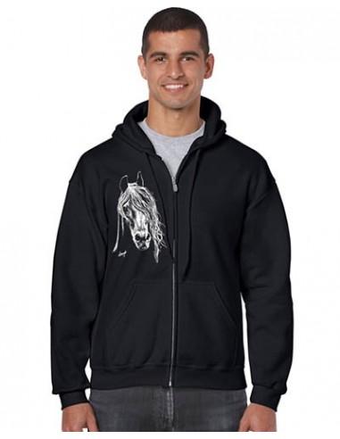 Sweat-shirt noir avec zip - Homme - Cheval Arabe