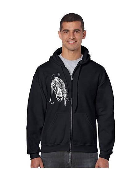 Sweat-shirt noir avec zip - Homme - Cheval blanc