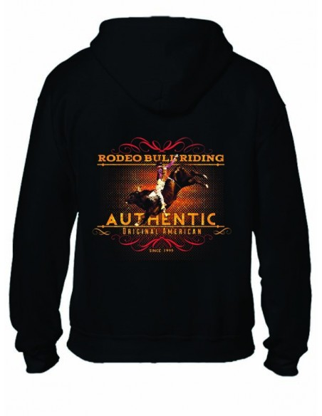 SWEAT-SHIRT NOIR AVEC ZIP - RODEO BULL RIDING