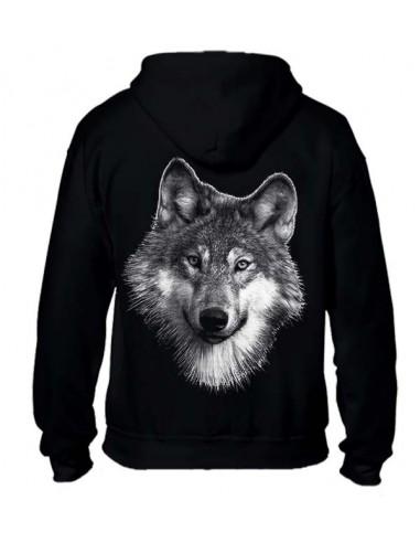 Sweat-shirt noir avec capuche et full zip - Femme - Tête de loup