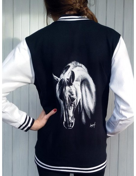 Veste a pressions mixte pour enfants avec un cheval blanc