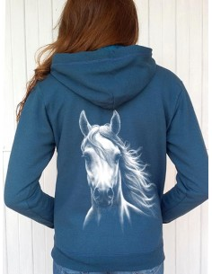 Sweat-shirt bleu capuche et full zip - Femme - Cheval blanc