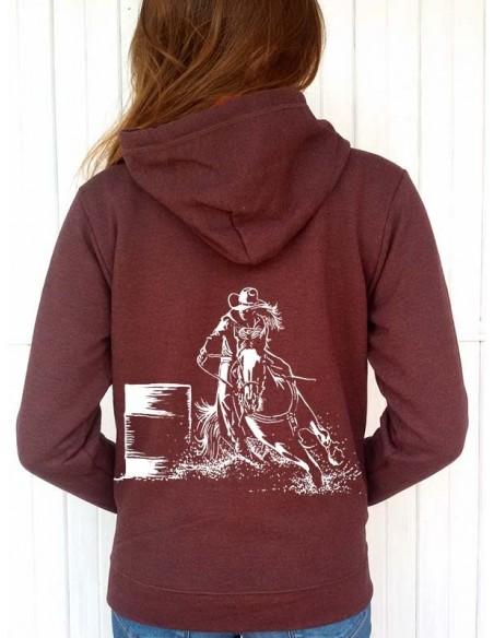 Sweat-shirt couleur rouille capuche et full zip - Femme - Barrel