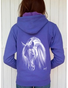 Sweat-shirt Lilas capuche et zip - Femme - Cheval crins blancs
