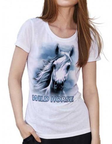 T-shirt Blanc pour femme. Cheval - Crins blancs