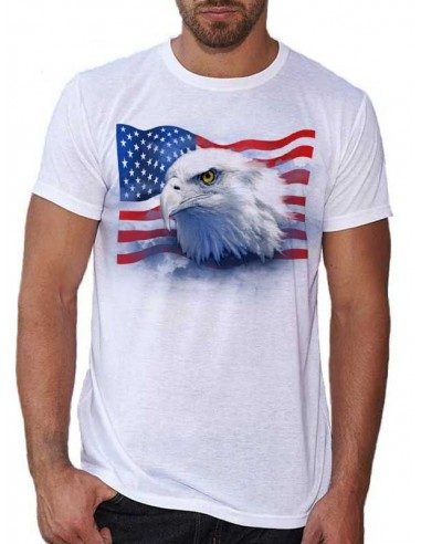 T-shirt homme Aigle et drapeau Américain