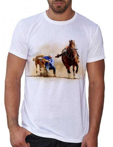 Tee shirt blanc homme cowboy