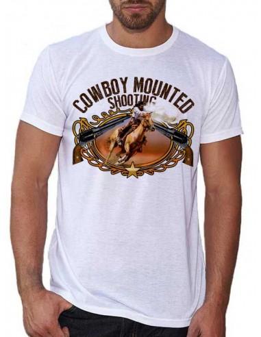 T-shirt blanc - homme - Cowboy - Tir à cheval