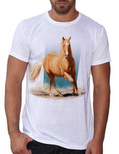 T-shirt blanc - homme - Quarter horse - Palomino